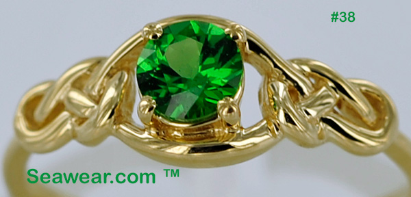 gem quality Tzavorite engagement ring