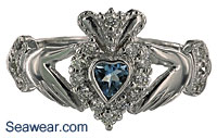 aquamarine heart and diamonds Claddagh ring