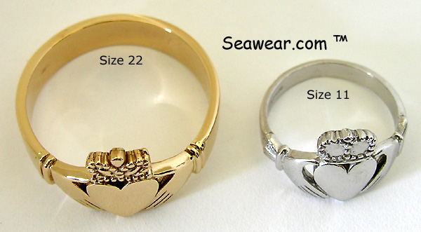 Size 22 Claddagh ring for NFL player
