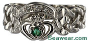 white gold millennium claddagh ring size