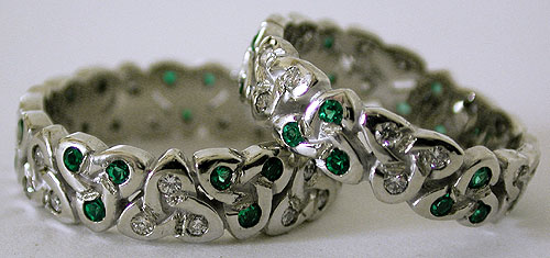 white gold diamond and emerald trinity knot wedding set