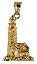 14kt gold highly detailed lighthouse and keepers house on the rocks