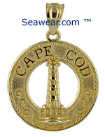 14kt gold Cape Cod MA lighthouse pendant