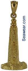 cape henlope lighthouse in 3D 14kt gold pendant or charm