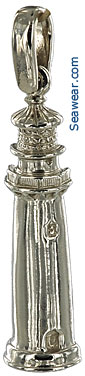 14k white gold half round Florida Jupiter lighthouse necklace pendant