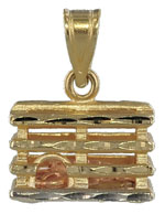 gold lobster trap with lobster inside jewelry pendant