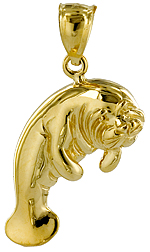 14kt gold manatee pendant with expressive wrinkled face