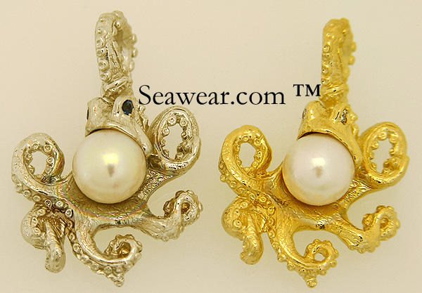 gold octopus with diamonds, sapphires and pearls