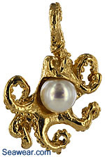 gold octopus necklace pendant with pearl body