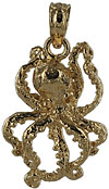small 14kt gold octopus pendant charm for necklace
