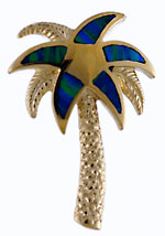 14k palm tree with opal fronds