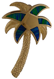 large opal inlaid palm tree slide pendant