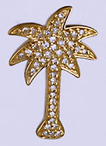 14k palm tree slide with diamonds