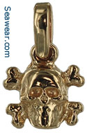 14k skull and cross bones jewelry necklace pendant