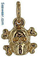 14kt skull and crossed bones jewelry bracelet charm