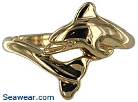 14k dolphin wedding ring