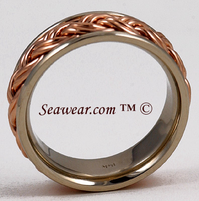 Catalina Sunset ring showing thickness of white and rose gold double braid