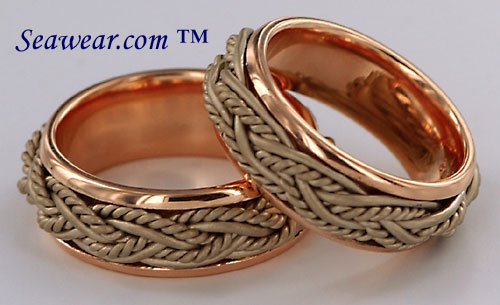 polished rose gold and satin white gold rings