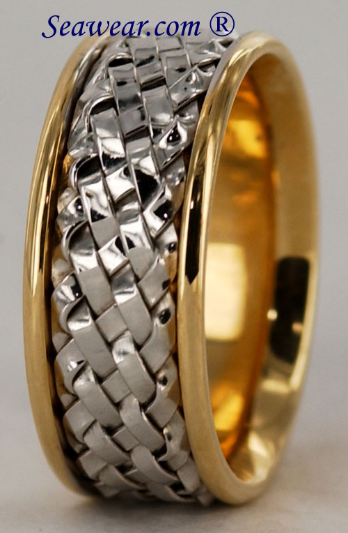 clearance 8mm wide two tone hand woven wedding rings