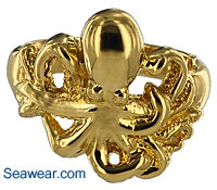 14kt highly polished gold octopus ring