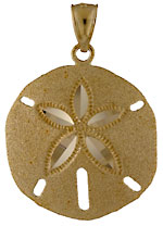 sandblasted sand dollar family of pendants and earrings in 14kt yellow gold