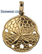 gold sand dollar necklace pendant