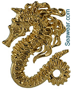 sea horse pendant with flowing mane in 14kt gold