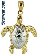 14kt two tone swimming sea turtle necklace charm