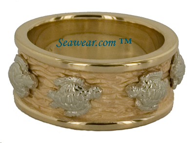 wide wedding ring with four sea turtles
