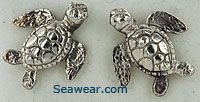 white gold baby green sea turtle earrings