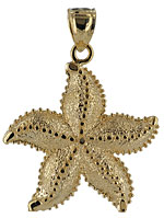 large 14kt gold starfish pendant