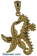 14kt gold fine jewelry starfish and seahorse