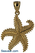 waving starfish pendant jewelry necklace 14k