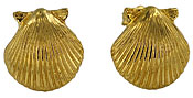 14kt gold scallop shell post earrings