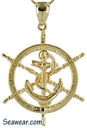 ships yacht wheel with anchor jewelry pendant