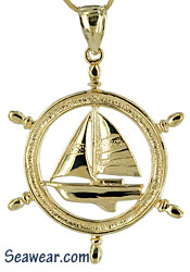 14kt gold ship yacht wheel with sailboat