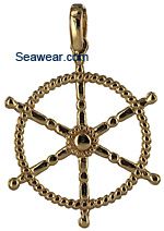 14kt twisted line ships yacht wheel pendant