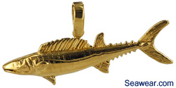 wahoo fish jewelry necklace charm pendant in 14kt gold