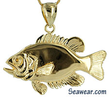 full round Rock Bass jewelry pendant charm