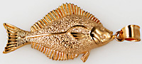 14kt halibut fish jewelry pendant