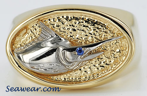 blue marlin signet ring
