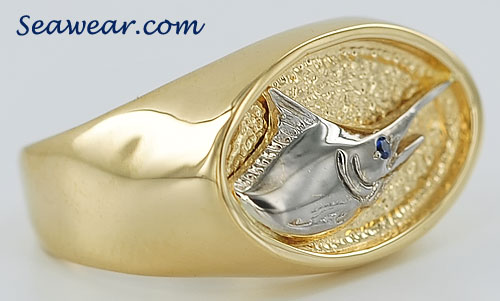 blue marlin signet ring with sapphire eye