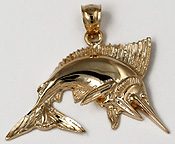14kt highly polished leaping marlin necklace pendant