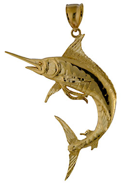 14kt large gold blue marlin necklace pendant