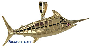 14k gold Peter Costello blue marlin jewelry pendant for necklace