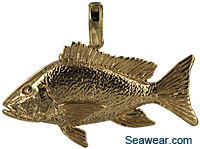 14k gold Mutton Snapper fish pendant