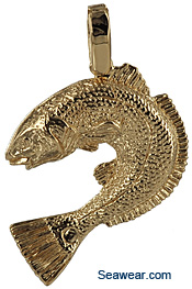 gold redfish jewelry necklace pendant