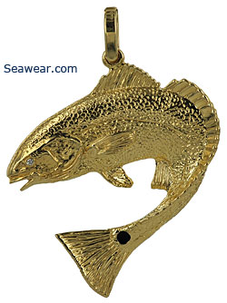 14kt redfish necklace with diamond eye