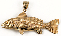 14kt redfish drumfish pendant