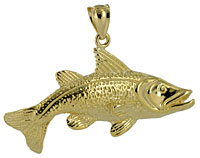 14kt gold redfish pendant